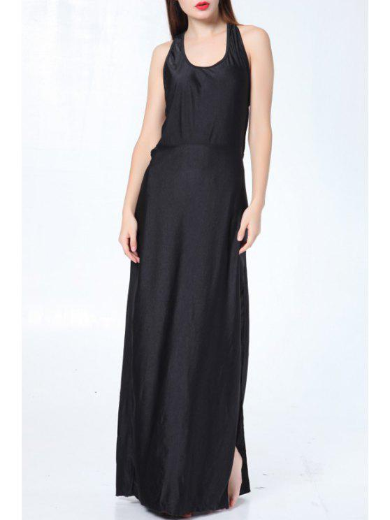 online Scoop Neck Backless Pure Color Sleeveless Dress - BLACK S