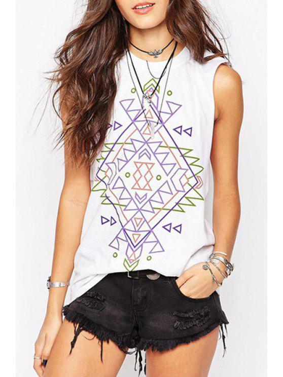 latest Totem Print Loose Tank Top - WHITE S