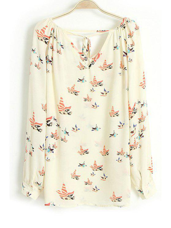 unique Full Bird Print V Neck Long Sleeve Blouse - OFF-WHITE S