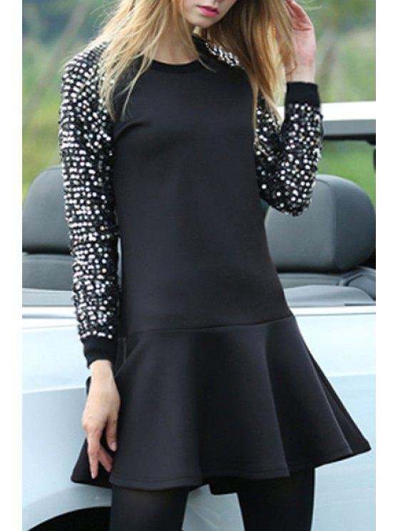 fashion Sequins Embellished Long Sleeve Dress - BLACK XL