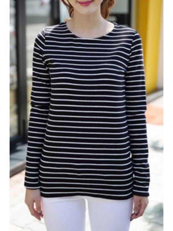 latest Color Block Stripes Long Sleeve T-Shirt - BLACK S