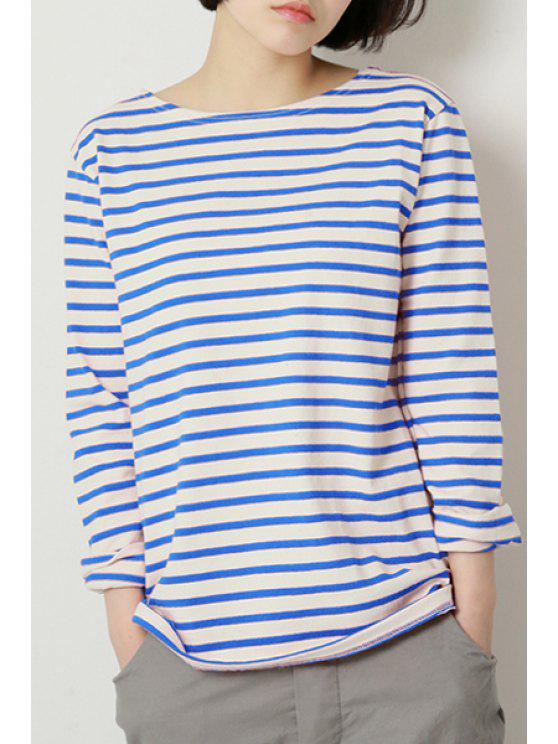 fashion Color Block Stripes Long Sleeve T-Shirt - BLUE M