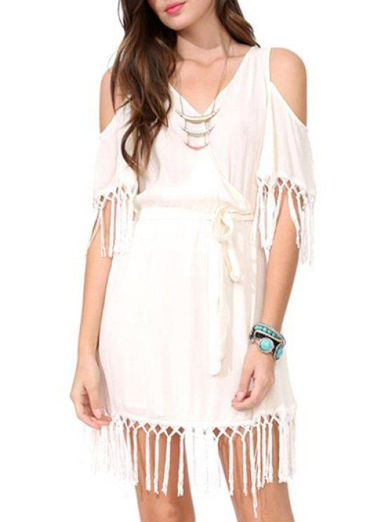 shops V Neck Solid Color Tassel Splicing Dress - WHITE S
