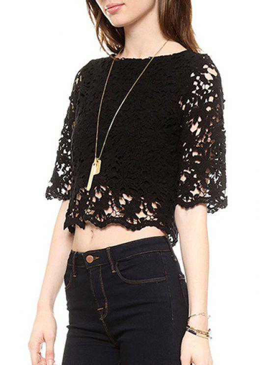 sale Jewel Neck Black Lace Short Sleeve Crop Top - BLACK S