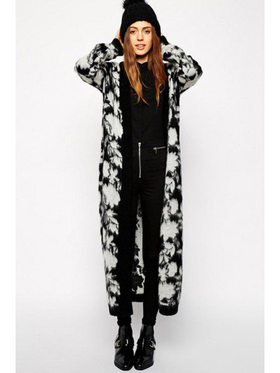 women Floral Pattern Long Sleeve Maxi Cardigan - BLACK AND GREY ONE SIZE(FIT SIZE XS TO M)