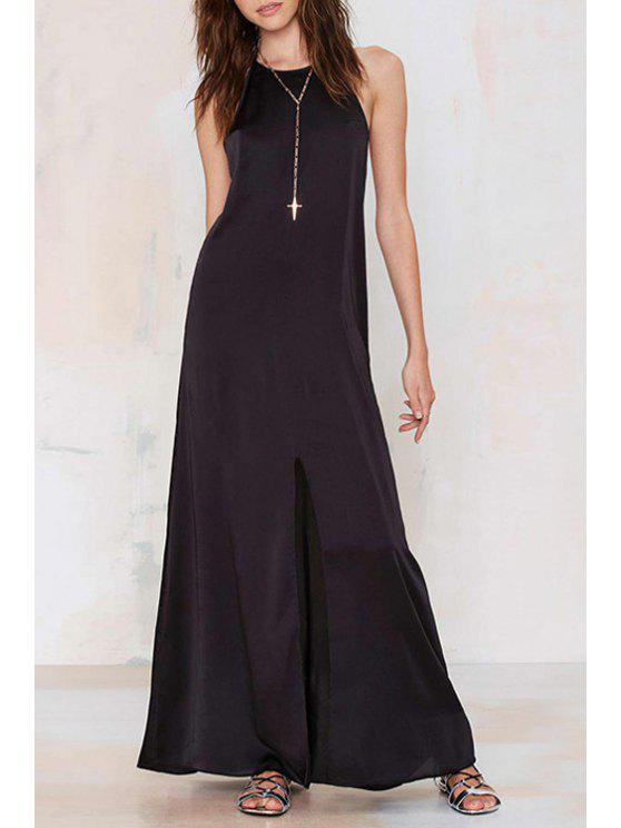lady Spaghetti Strap Hollow Back Maxi Dress - BLACK S