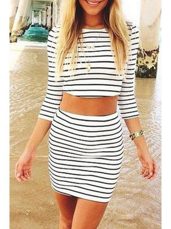 womens Black Stripe 3/4 Sleeve Crop Top +Skirt - WHITE AND BLACK XL