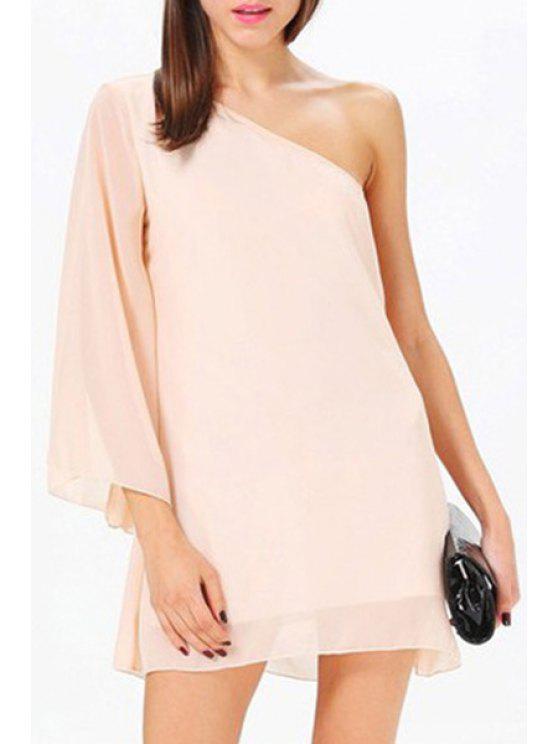 ladies One Shoulder Solid Color 3/4 Sleeve Dress - PINK S