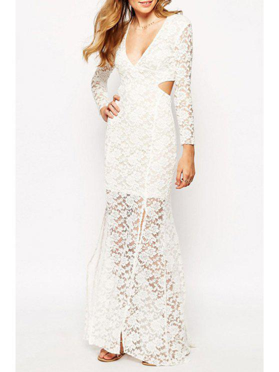 outfits Long Sleeve Cut Out Lace Fishtail Dress - WHITE M