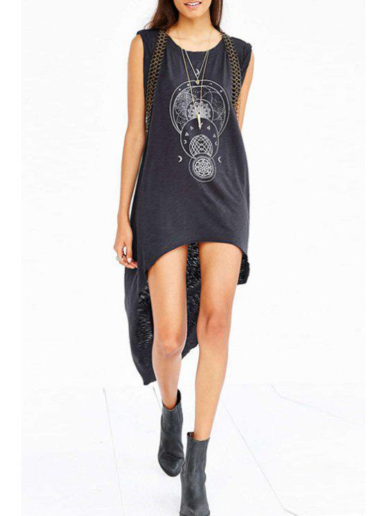 fancy Sleeveless Geometric Print Dovetail Dress - BLACK S