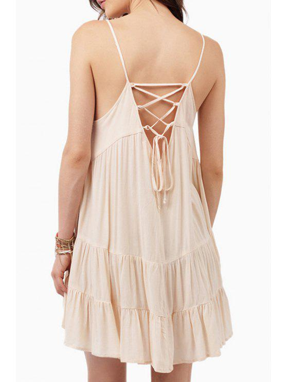 affordable Spaghetti Strap Lace-Up Flare Dress - OFF-WHITE S