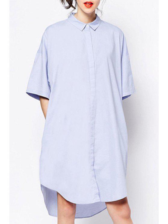 lady Polo Collar Pure Color Short Sleeve Dress - LIGHT BLUE S