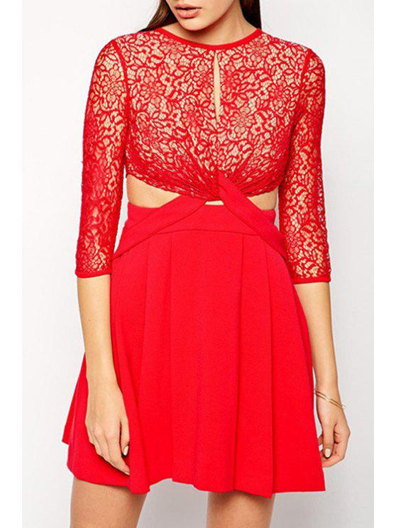 lady Front Twist Openwork Lace Hook Dress - RED M