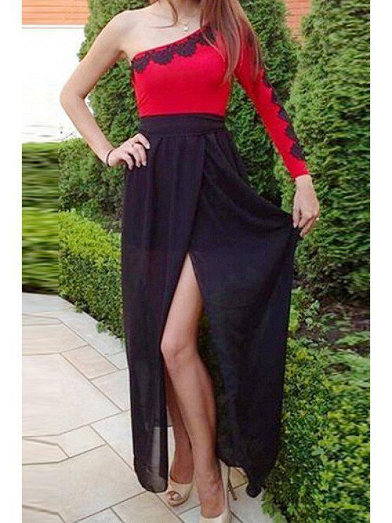 women's One Shoulder Red Black Splicing Long Sleeve Dress - BLACK S