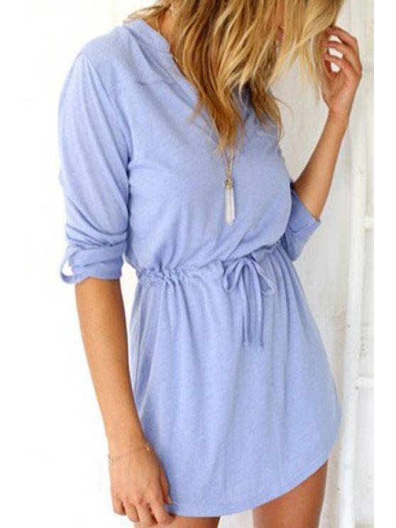 hot V Neck Solid Color Tie-Up Dress - LIGHT BLUE S