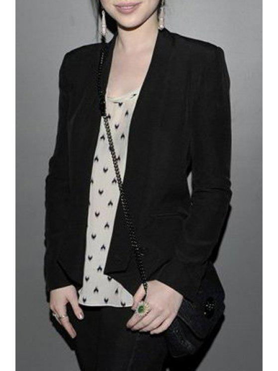 shops Turn-Down Collar Zippers Solid Color Blazer - BLACK M