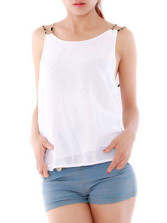 sale Backless Spaghetti Strap Solid Color Tank Top - WHITE S