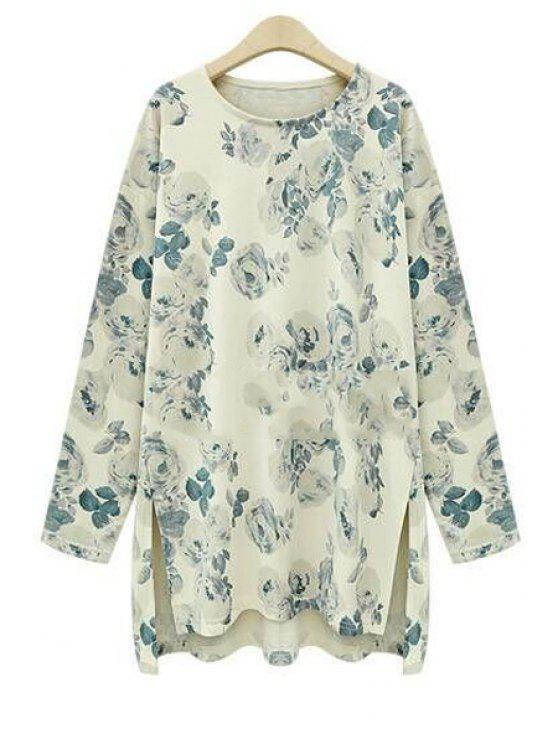 women's Floral Print High Low Long Sleeve T-Shirt - BEIGE 5XL