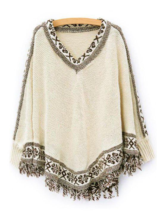 latest Batwing Sleeve Tassels Cape Sweater - OFF-WHITE ONE SIZE(FIT SIZE XS TO M)