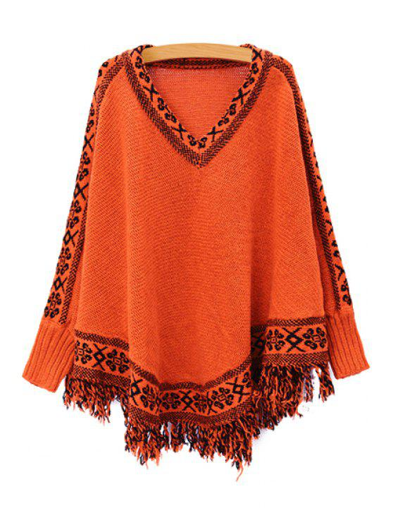 Batwing Sleeve Tassels Cape Sweater - Tangerine Taille Unique(S'adap