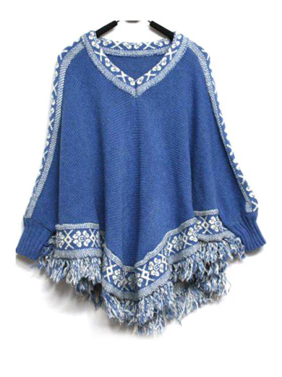 fancy Batwing Sleeve Tassels Cape Sweater - BLUE ONE SIZE(FIT SIZE XS TO M)