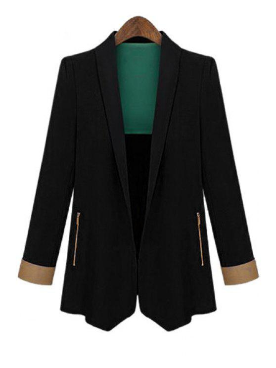 outfit Color Block Shawl Collar Long Sleeve Blazer - BLACK M
