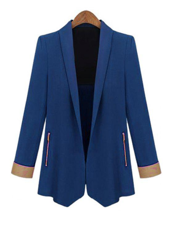 trendy Color Block Shawl Collar Long Sleeve Blazer - SAPPHIRE BLUE L