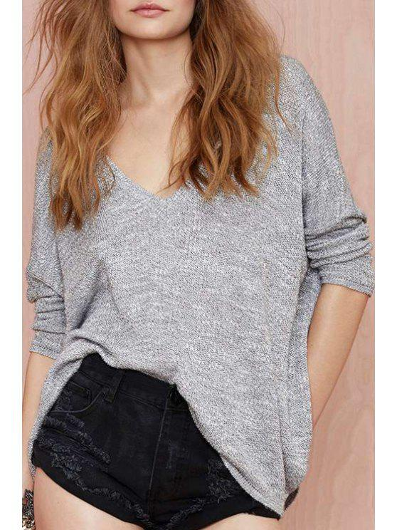 hot Deep V Neck Batwing Long Sleeve Sweater - GRAY XL