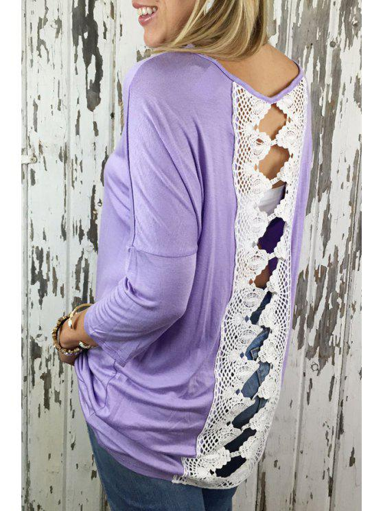 outfits Lace Spliced Hollow Back T-Shirt - PURPLE S