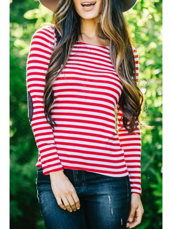 fancy Striped Elbow Patchwork T-Shirt - RED S