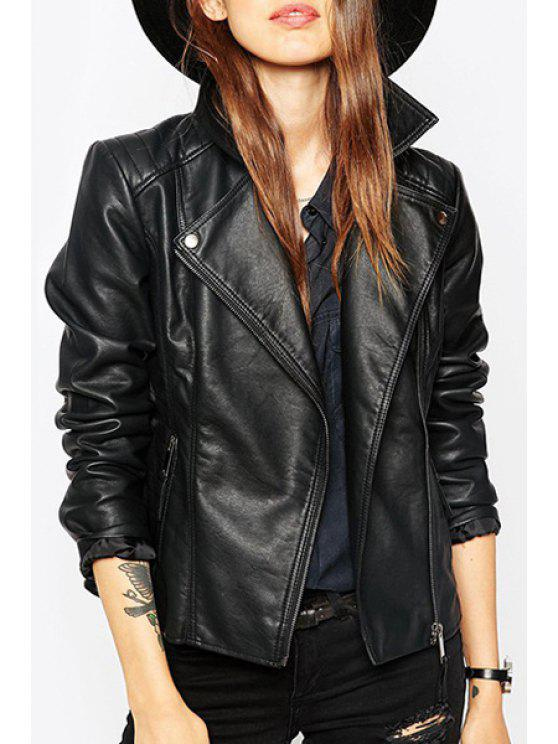 outfits Turn-Down Collar PU Leather Zipper Fly Jacket - BLACK S