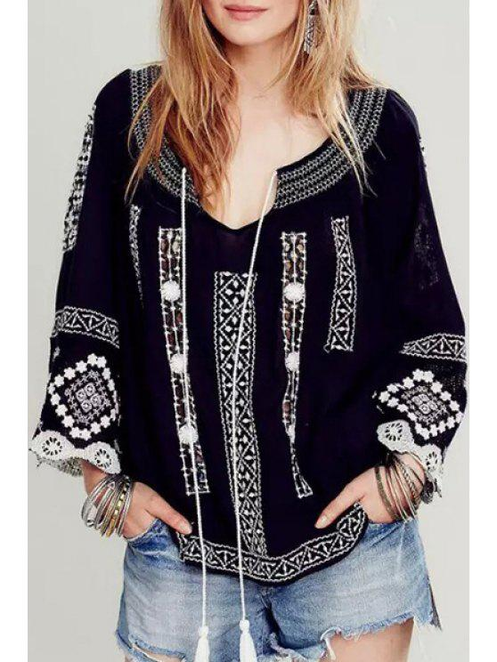 online Embroidery Nine-Minute Sleeve Blouse - BLACK S