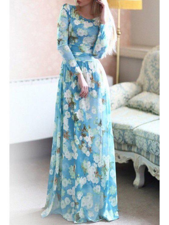 latest Long Sleeve Full Floral Maxi Dress - AZURE S