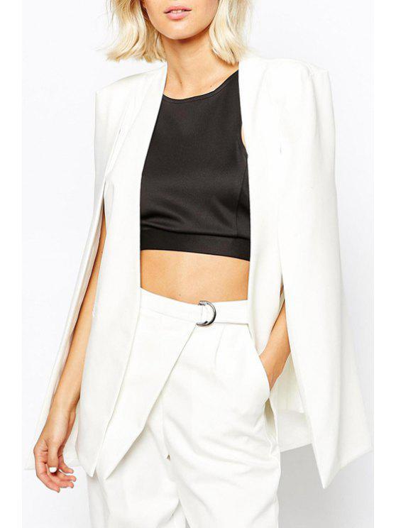 ladies Solid Color Split Sleeveless Blazer - WHITE S