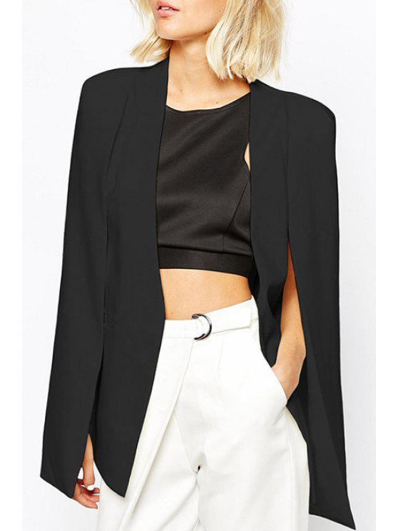 shop Solid Color Split Sleeveless Blazer - BLACK XL