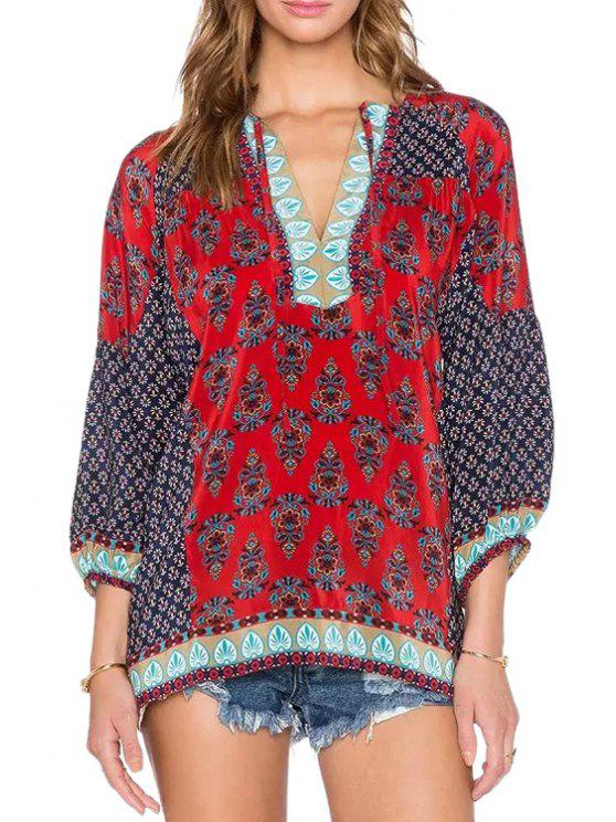 chic Ethnic Print V Neck Long Sleeves Blouse - RED S