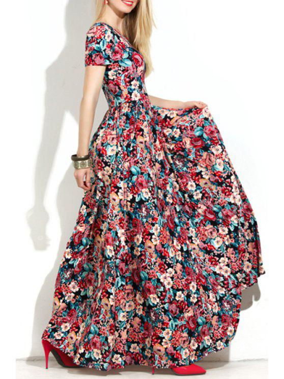 shops Short Sleeve Full Floral Maxi Dress - RED L