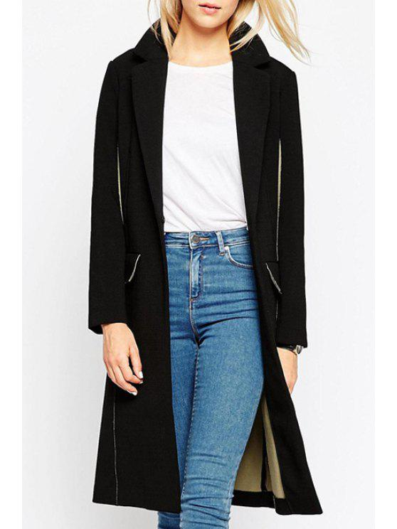 outfit Lapel Solid Color Long Sleeve Trench Coat - BLACK S