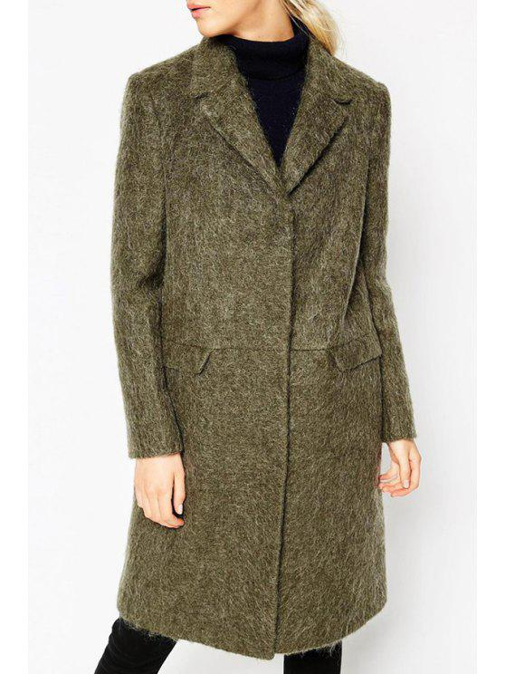 affordable Lapel Solid Color Pocket Long Sleeve Trench Coat - ARMY GREEN S