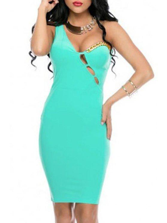 fashion Hollow Out One-Shoulder Light Green Club Dress - LIGHT GREEN ONE SIZE(FIT SIZE XS TO M)
