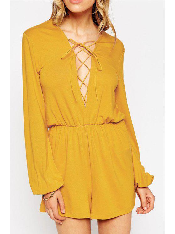 shop Plunging Neck Lace-Up Romper - YELLOW L