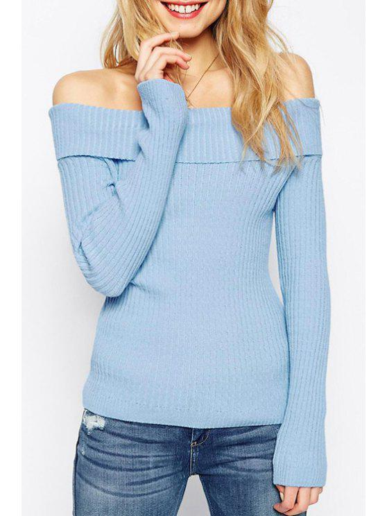 shops Slash Neck Solid Color Long Sleeve Sweater - BLUE M