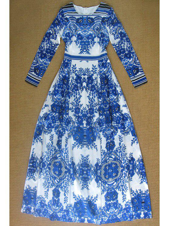 unique Blue Print Long Sleeve Maxi Dress - BLUE S