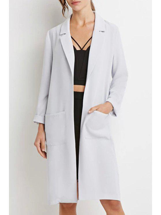 hot Lapel Pocket Solid Color Long Sleeve Trench Coat - LIGHT GRAY S