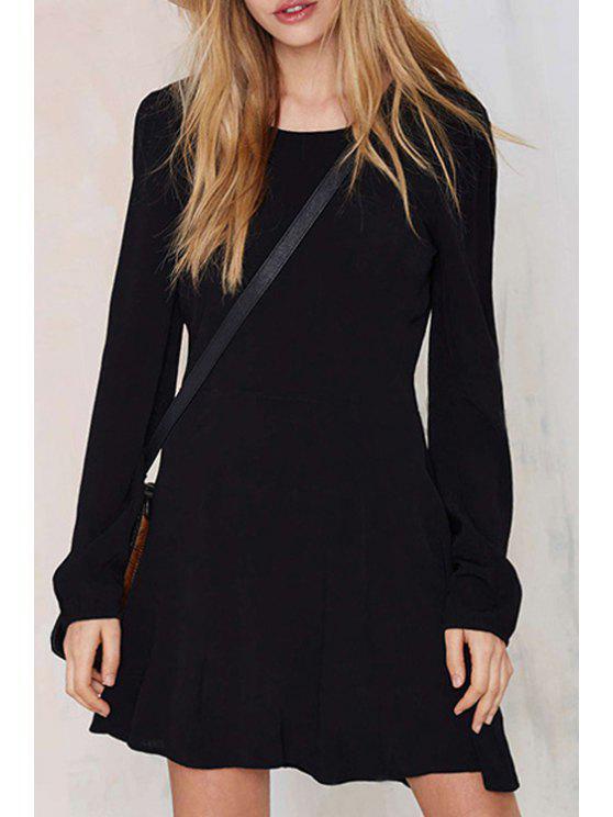 women Long Sleeve Hollow Back Black Dress - BLACK S