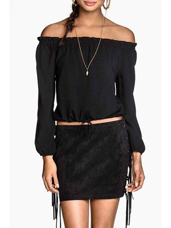 shop Slash Neck Solid Color Tie-Up Crop Top - BLACK L
