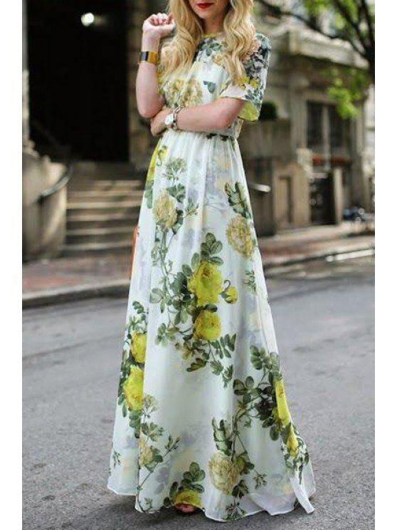 best Green Floral Print Short Sleeve Maxi Dress - GREEN S