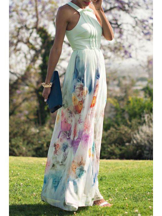 affordable Flower Print Spliced Sleeveless Maxi Dress - WHITE S