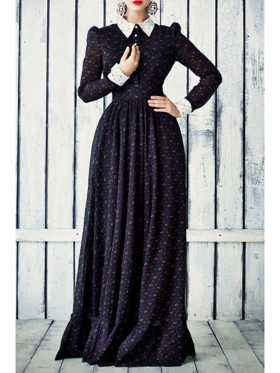 lady Tiny Floral Turn Down Collar Long Sleeve Maxi Dress - DEEP BLUE S