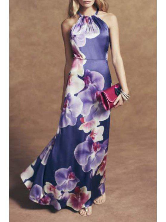 lady Purple Floral Print Sleeveless Maxi Dress - PURPLE XL